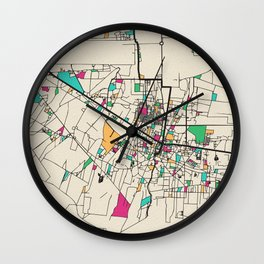 Colorful City Maps: Siem Reap, Cambodia Wall Clock