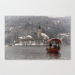 Red Pletna Boat At Lake Bled Canvas Print