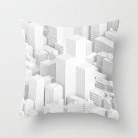 metropolis Throw Pillows featuring metropolis by parisian samurai studio