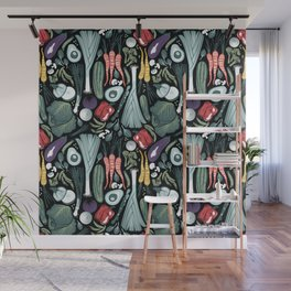 Go veggie // black background sage green mint goldenrod yellow coral and purple beet vegetables Wall Mural