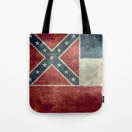 Mississippi State Flag - Distressed version Tote Bag