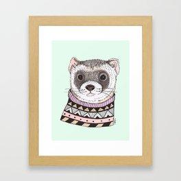 Hipster Ferret Framed Art Print