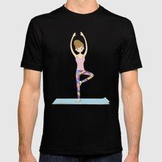 Yoga Girl in Tree Pose illustration Mens Fitted Tee Black MEDIUM