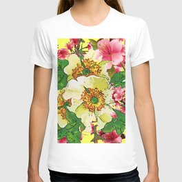 CONTEMPORARY PINK & CREAMY WHITE SPRING FLOWERS T-shirt