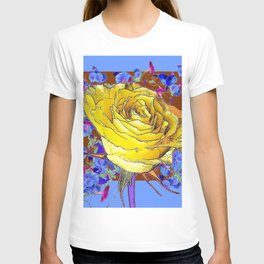 GRAPHIC YELLOW ROSE BLUE FLOWERS BROWN ART T-shirt