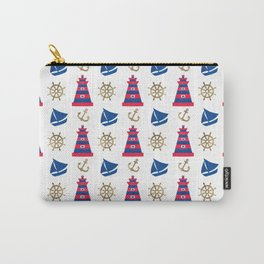 Blue red faux gold hand painted watercolor nautical pattern Carry-All Pouch