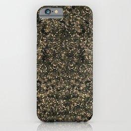 Black Gold Metallic Cowhide pattern Print iPhone Case