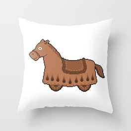 Pixel Drawing: Cabriolet horse Throw Pillow