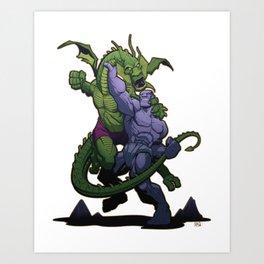 It The Living Colossus vs. Fin Fang Foom Art Print