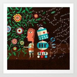 """Robots Can't Dance"" by James Yang for Nautilus Art Print"