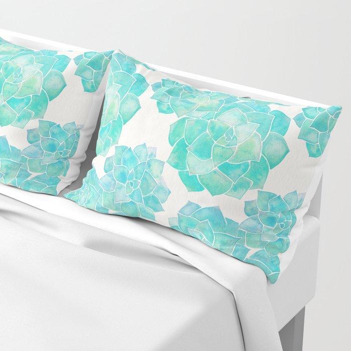 Rosette Succulents – Turquoise Palette Pillow Sham