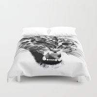 snow leopard Duvet Covers featuring Snow Leopard by pbnevins