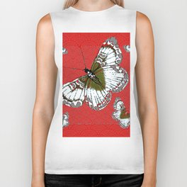 DECORATIVE WHITE & RED PATTERN BUTTERFLIES FROM   SOCIETY6 BY SHARLESART. Biker Tank