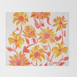 Sunflower Watercolor – Fiery Palette Throw Blanket