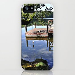 September sky is kissing pond surface iPhone Case