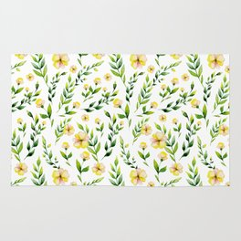 Hand painted yellow green watercolor spring floral Rug