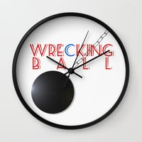 miley cyrus Wall Clocks featuring Wrecking Ball - Miley Cyrus by kirstenariel
