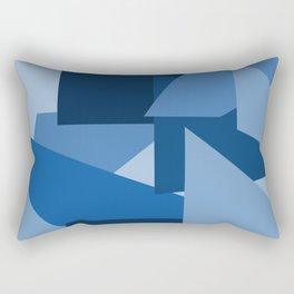 Blu-Geometric Rectangular Pillow