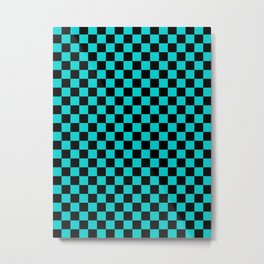 Black and Cyan Checkerboard Metal Print