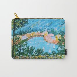 Portofino Harbor and Flowers Landscape Painting Carry-All Pouch