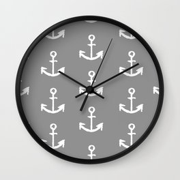 Anchors - Gray with White Wall Clock