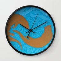 otters Wall Clocks featuring Two Otters by LegendOfZeldy