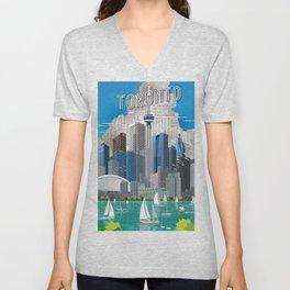 Toronto Skyline wide Unisex V-Neck