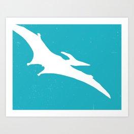 Pterodactyl Dinosaur Turquoise Blue Art Print