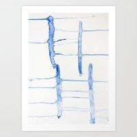 watercolor drips - blue cross Art Print