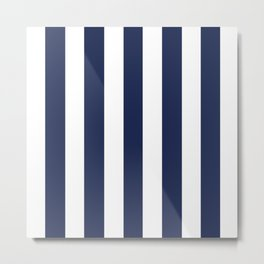 Space cadet blue - solid color - white vertical lines pattern Metal Print
