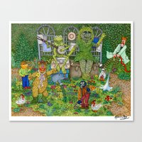 muppets Canvas Prints featuring Gardening Muppets by Katherine Mary