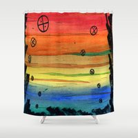 aliens Shower Curtains featuring rainbow aliens by Squidfeathers
