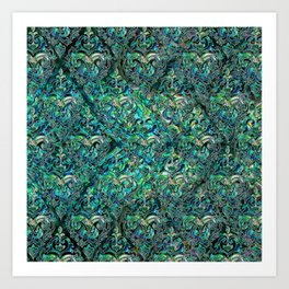 Persian Oriental pattern abalone and silver Art Print