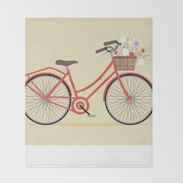 Flower Basket Bicycle Illustration Throw Blanket
