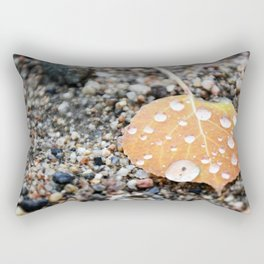 Aspen Leaf and Water Droplets Rectangular Pillow