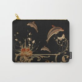 Funny dolphins with flowers Carry-All Pouch