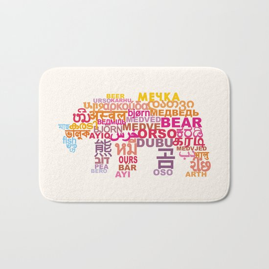 Bear in Different Languages Bath Mat
