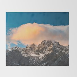 Burning clouds over the mountains Throw Blanket