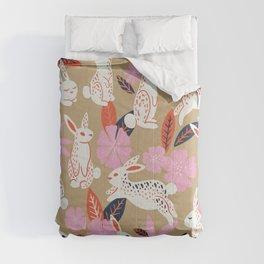 Bunnies & Blooms – Coral & Pink Comforters