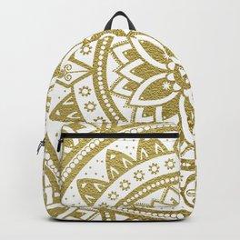 White & Gold Patterned Flower Mandala Backpack