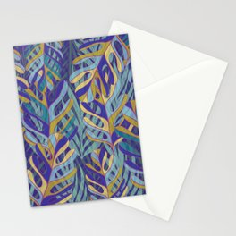 Tropical Leaves, blue and mustard pattern Stationery Cards