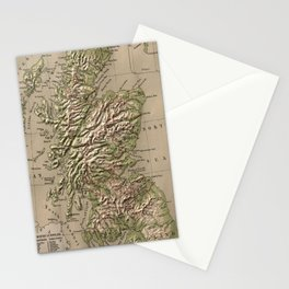 Vintage Physical Map of Scotland (1880) Stationery Cards
