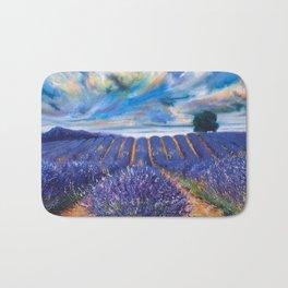 Fields of Lavender landscape painting by Vincent van Gogh Bath Mat