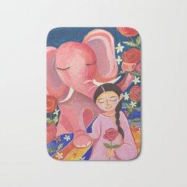 Elephant Somin and a girl in June night | Yuko Nagamori Bath Mat