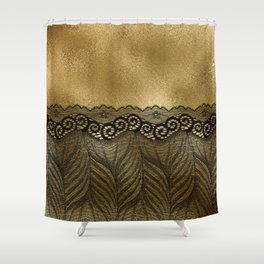 Black floral luxury lace on gold effect metal background Shower Curtain