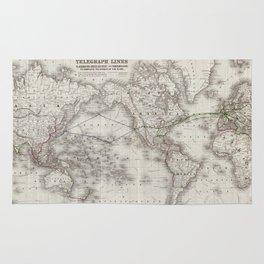 Vintage World Telegraph Lines Map (1855) Rug