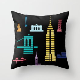 New York Skyline Empire State Poster Black Throw Pillow