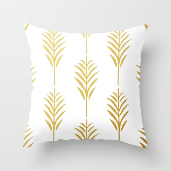 Golden Palm Leaves on White Throw Pillow
