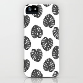 Monstera house plant leaf black and white painting  hipster indoor house plant tropical garden   iPhone Case