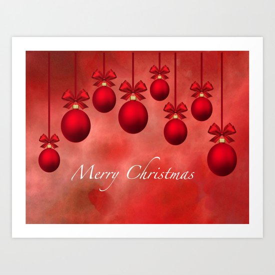 Merry Christmas Ornaments Bows and Ribbons - Red Art Print